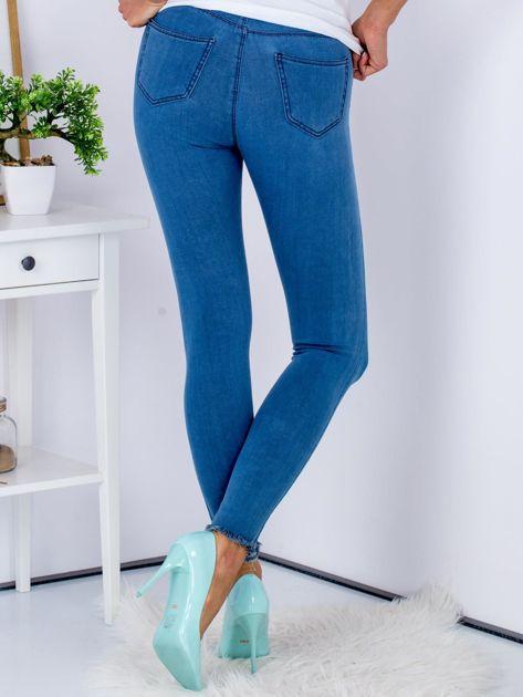 Spodnie rurki high waist ze stretchem niebieskie                              zdj.                              2