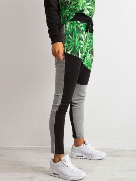 Spodnie z nadrukiem czarno-szare BY O LA LA                               zdj.                              3