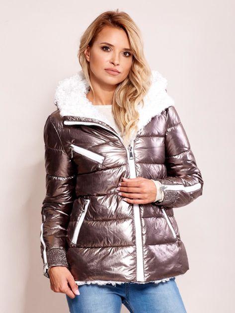 Srebrna metaliczna pikowana kurtka                              zdj.                              1