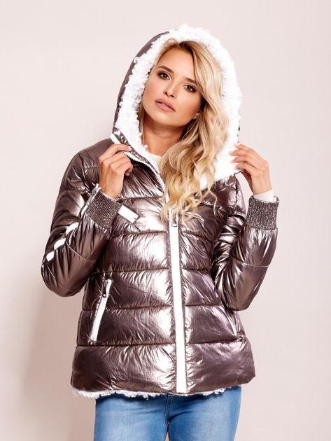 Srebrna metaliczna pikowana kurtka                              zdj.                              5
