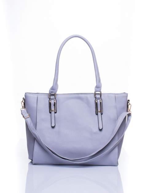 Srebrna torba shopper bag z odpinanym paskiem