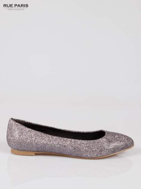Srebrne baleriny glitter Starlit ze smukłym noskiem                                  zdj.                                  1