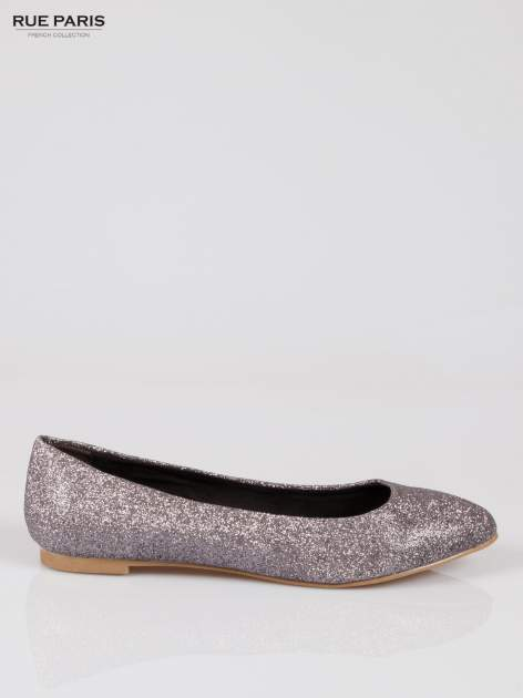 Srebrne baleriny glitter ze smukłym noskiem