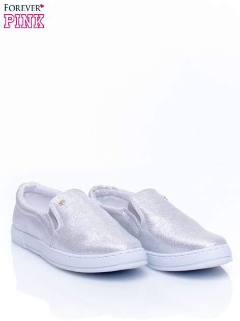 Srebrne buty sliponki glitter                                  zdj.                                  3