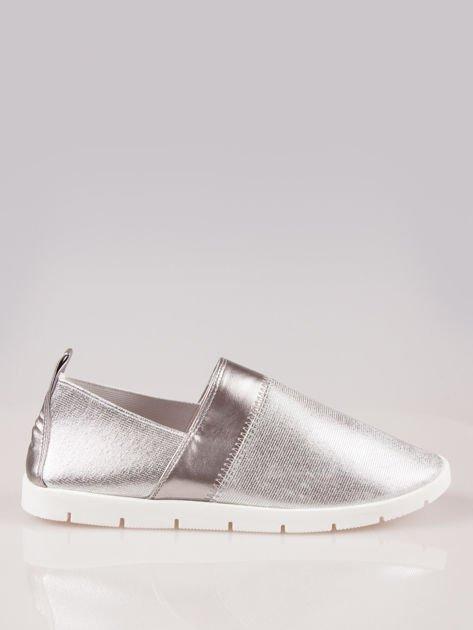 Srebrne buty slippers na traktorowej podeszwie