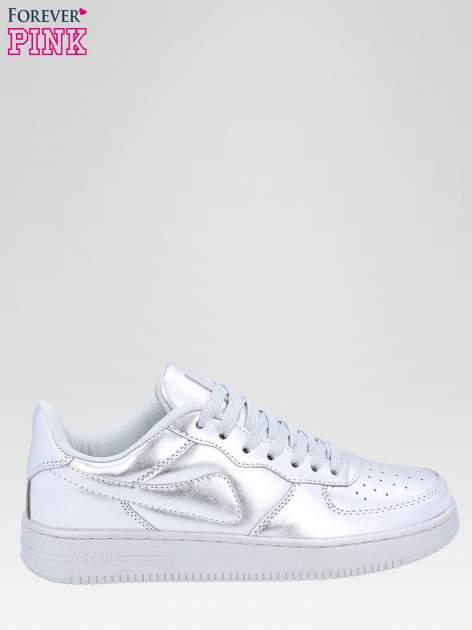 Srebrne buty sportowe faux leather Mousse na grubej podeszwie                                  zdj.                                  1