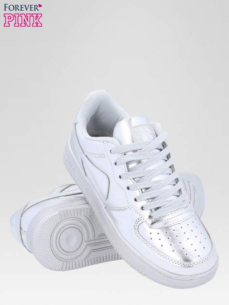 Srebrne buty sportowe faux leather Mousse na grubej podeszwie                                  zdj.                                  3