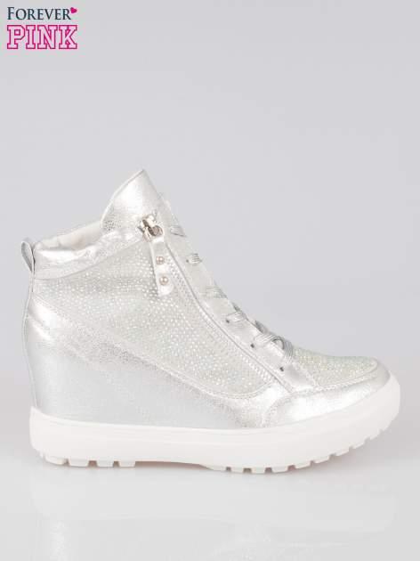 Srebrne sneakersy damskie z kryształkami                                  zdj.                                  1