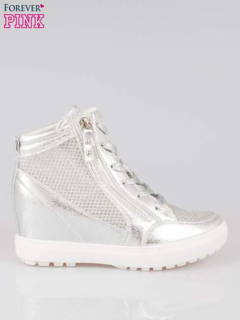 Srebrne sneakersy damskie z wężową siateczką