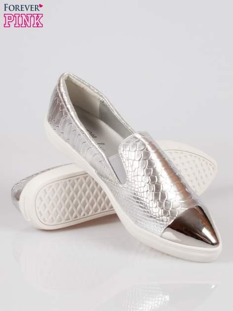 Srebrne wężowe buty slippers gold cap toe                                  zdj.                                  4