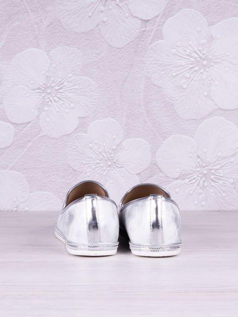 Srebrnobiałe cieniowane baleriny leather Snowflake z jasną podeszwą                              zdj.                              4