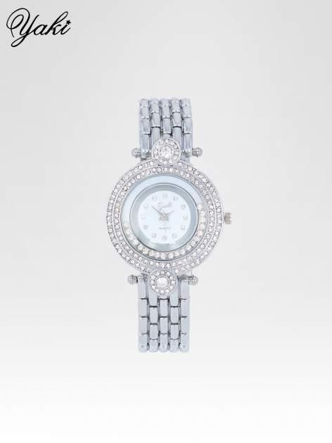 Srebrny biżuteryjny zegarek damski z cyrkoniową kopertą                                  zdj.                                  1
