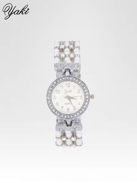 Srebrny biżuteryjny zegarek na bransolecie z cyrkoniami                                  zdj.                                  1