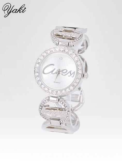 Srebrny cyrkoniowy zegarek damski na bransolecie                                  zdj.                                  2