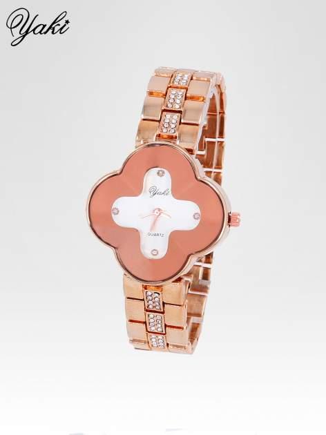 Srebrny zegarek damski na bransolecie z czerwoną tarczą koniczyną                                  zdj.                                  2