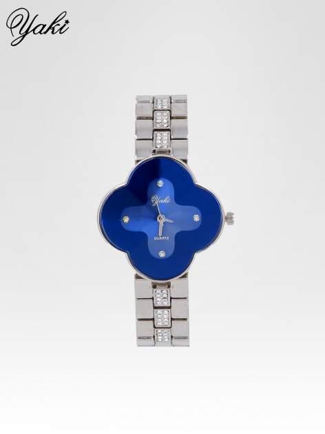 Srebrny zegarek damski na bransolecie z niebieską tarczą koniczyną