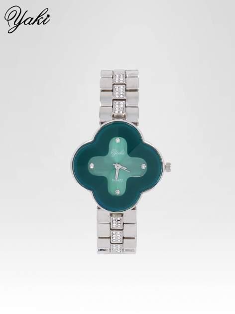 Srebrny zegarek damski na bransolecie z zieloną tarczą koniczyną