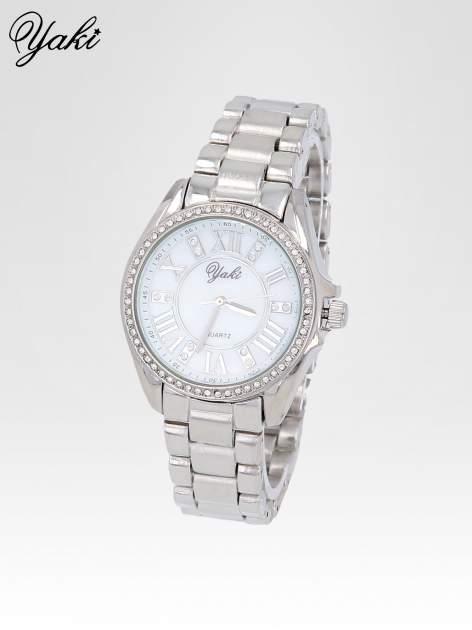 Srebrny zegarek damski z cyrkoniami boyfriend watch                                  zdj.                                  2