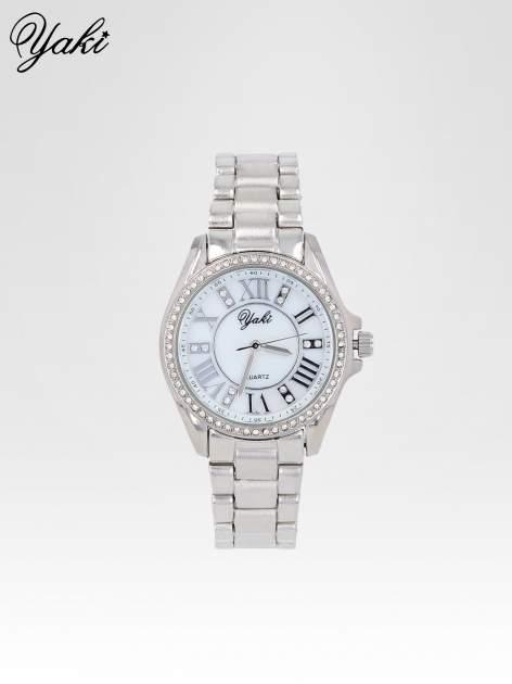 Srebrny zegarek damski z cyrkoniami boyfriend watch