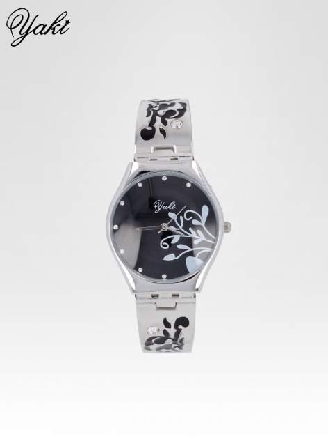 Srebrny zegarek damski z grawerem kwiatów                                  zdj.                                  1