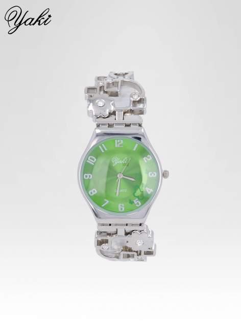Srebrny zegarek na brasolecie z motywem kwiatowym                                  zdj.                                  1