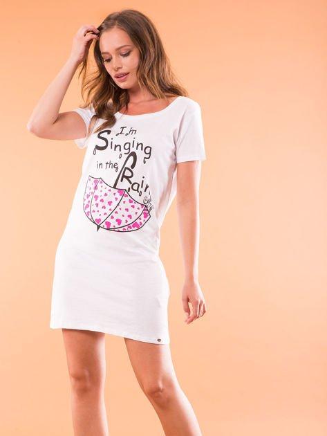 Sukienka bawełniana biała z nadrukiem parasola                                  zdj.                                  2