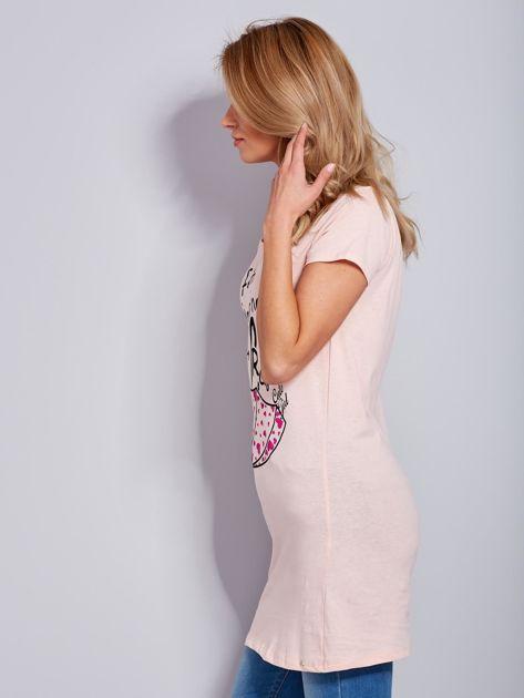 Sukienka bawełniana brzoskwiniowa z nadrukiem parasola                              zdj.                              5