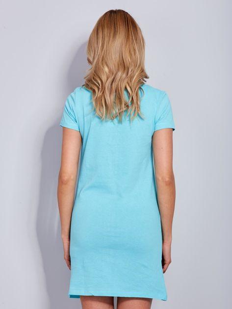 Sukienka bawełniana jasnoniebieska z nadrukiem parasola                                  zdj.                                  3