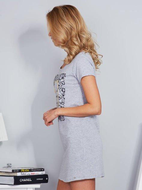 Sukienka bawełniana z kwiatowym nadrukiem jasnoszara                              zdj.                              5