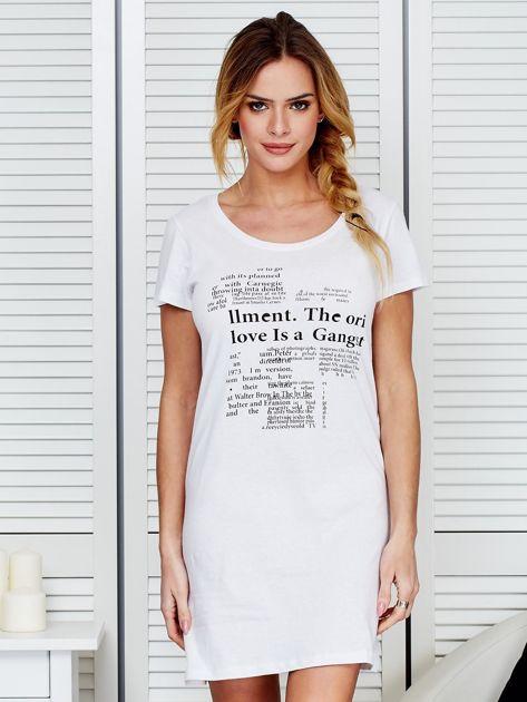 Sukienka biała bawełniana z nadrukiem newspaper                              zdj.                              1