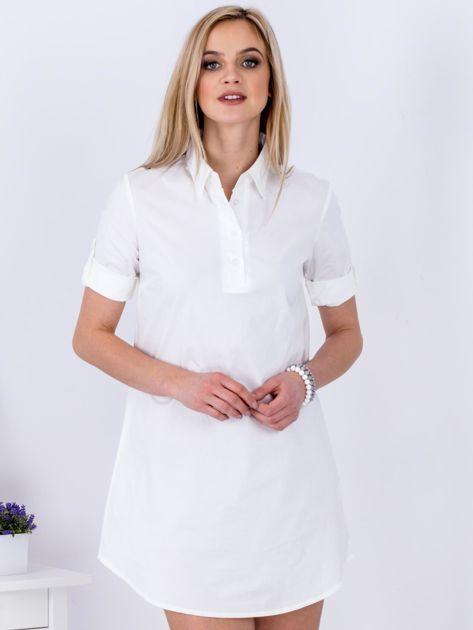Sukienka biała z kołnierzykiem                              zdj.                              1