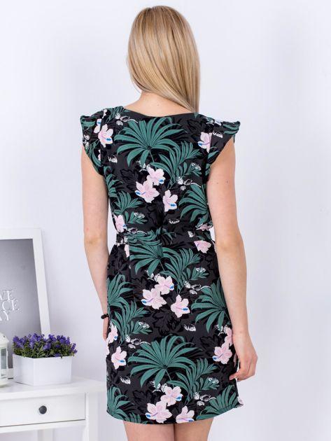 Sukienka ciemnoszara w roślinne motywy PLUS SIZE                              zdj.                              2