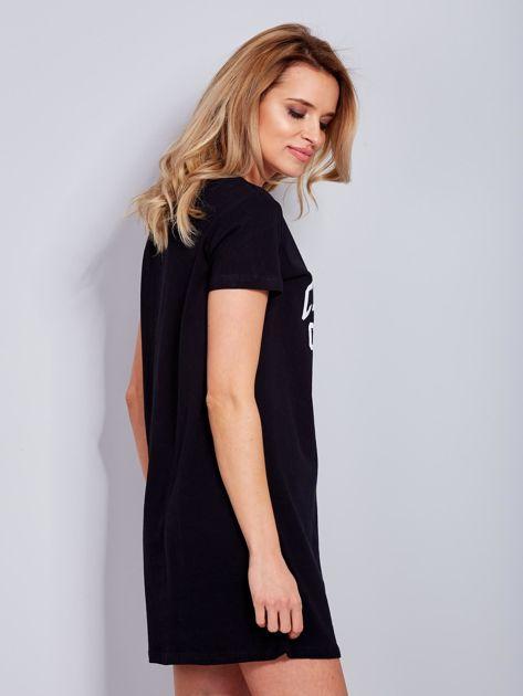 Sukienka czarna bawełniana z napisem COLLEGE                              zdj.                              6