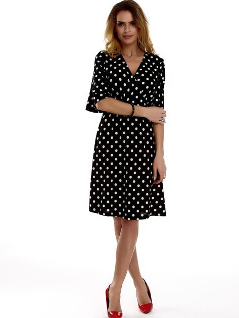 Sukienka czarna w grochy                              zdj.                              4
