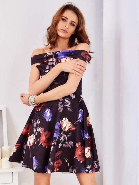 Sukienka czarna w tulipany                                  zdj.                                  5