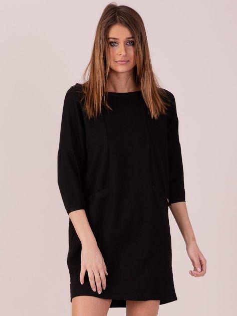 Sukienka czarna z ozdobną lamówką                              zdj.                              1