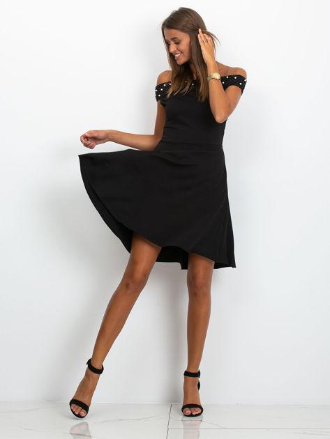 Sukienka czarna z perełkami                              zdj.                              4