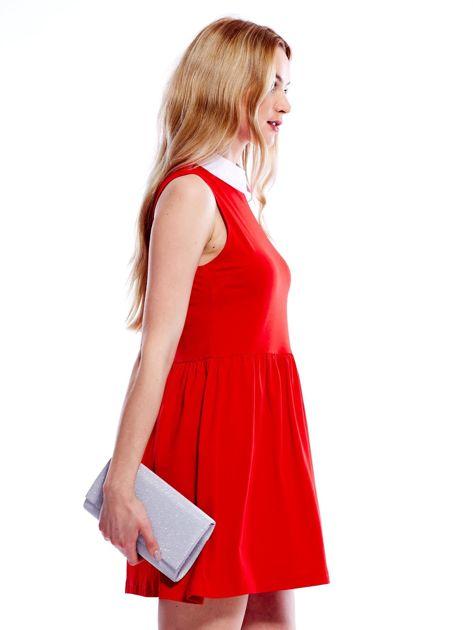 Sukienka czerwona z kołnierzykiem                              zdj.                              3