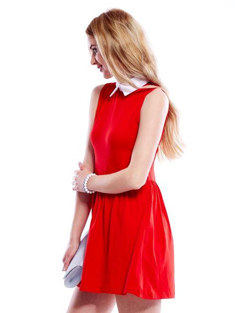 Sukienka czerwona z kołnierzykiem                              zdj.                              5