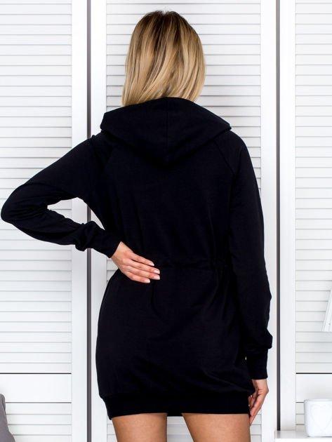 Sukienka damska dresowa z napisem COCO czarna                              zdj.                              2