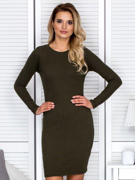 Sukienka damska w prążek dzienna khaki                              zdj.                              1