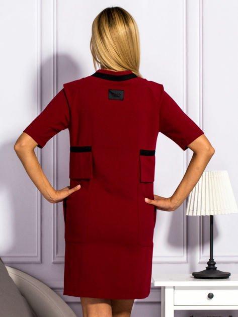Sukienka damska z kieszeniami bordowa                                  zdj.                                  2