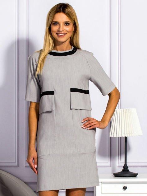 Sukienka damska z kieszeniami jasnoszara                                  zdj.                                  1