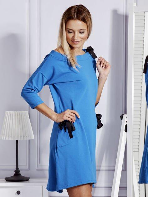 Sukienka damska z kokardami niebieska                              zdj.                              5