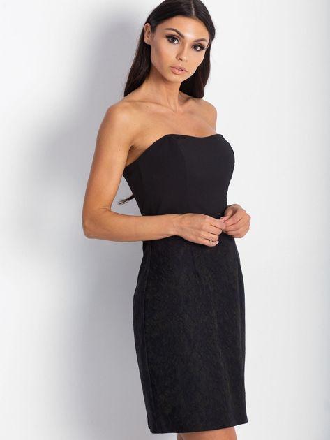 Sukienka damska z koronkowym modułem czarna                              zdj.                              2