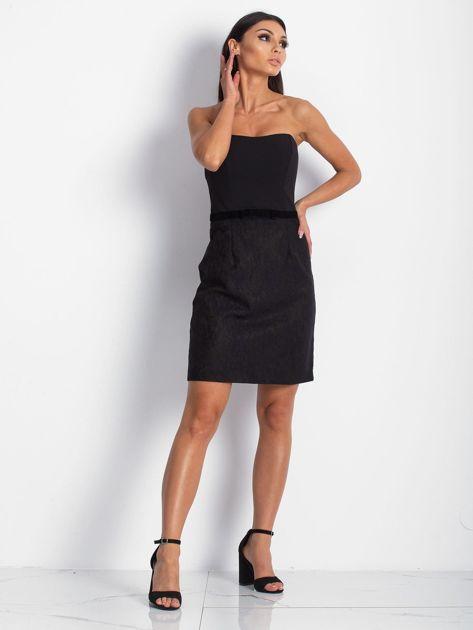 Sukienka damska z koronkowym modułem czarna                              zdj.                              5