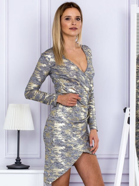 Sukienka damska z motywem moro ciemnoszara                              zdj.                              3