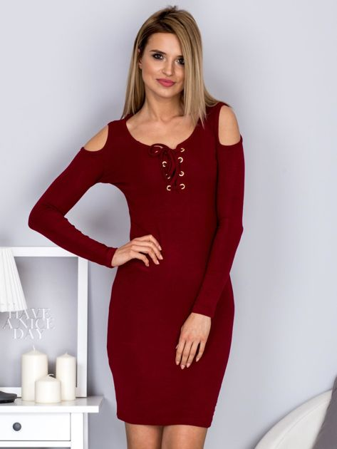 Sukienka damska z wycięciami i dekoltem lace up bordowa                              zdj.                              1