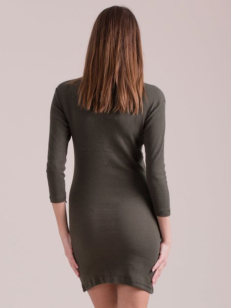 Sukienka dopasowana lace up khaki                              zdj.                              2