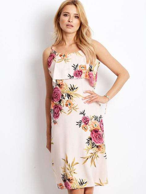 Sukienka jasnoróżowa w kolorowe kwiaty                              zdj.                              1